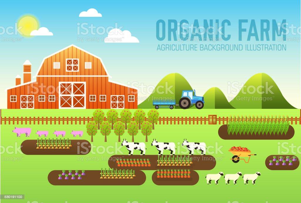 Flat farm in village set sprites. Vector illustrations banners concept vector art illustration