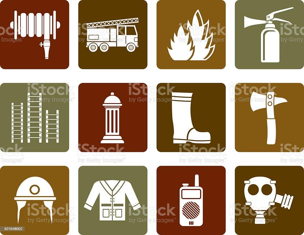 Flat fire brigade and fireman equipment icon vector art illustration
