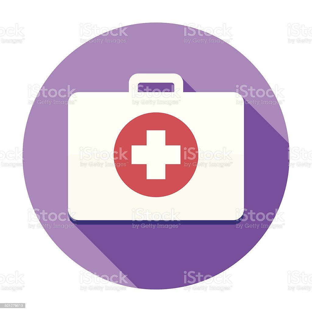Flat First Aid Kit Icon vector art illustration
