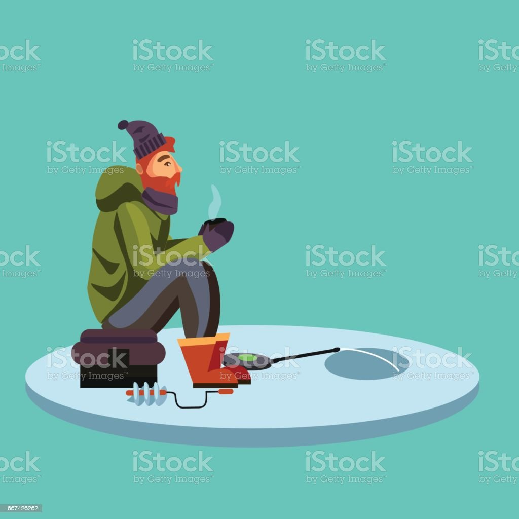 Flat fisherman hat sits on bag with spin fishing rod in hand and catches bucket, Fishman crocheted spin into the ice-hole waiting big fish funny vector illustration, Man active banner concept vector art illustration