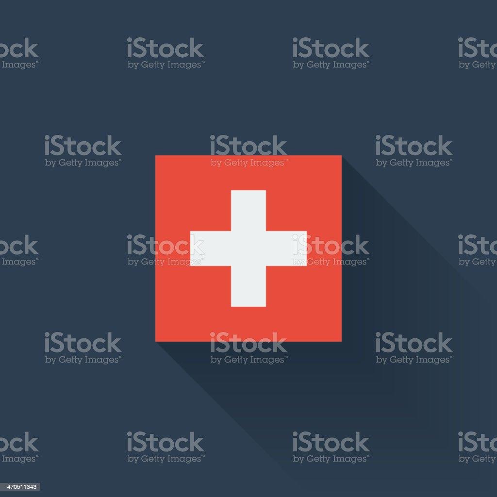 Flat flag of Switzerland vector art illustration