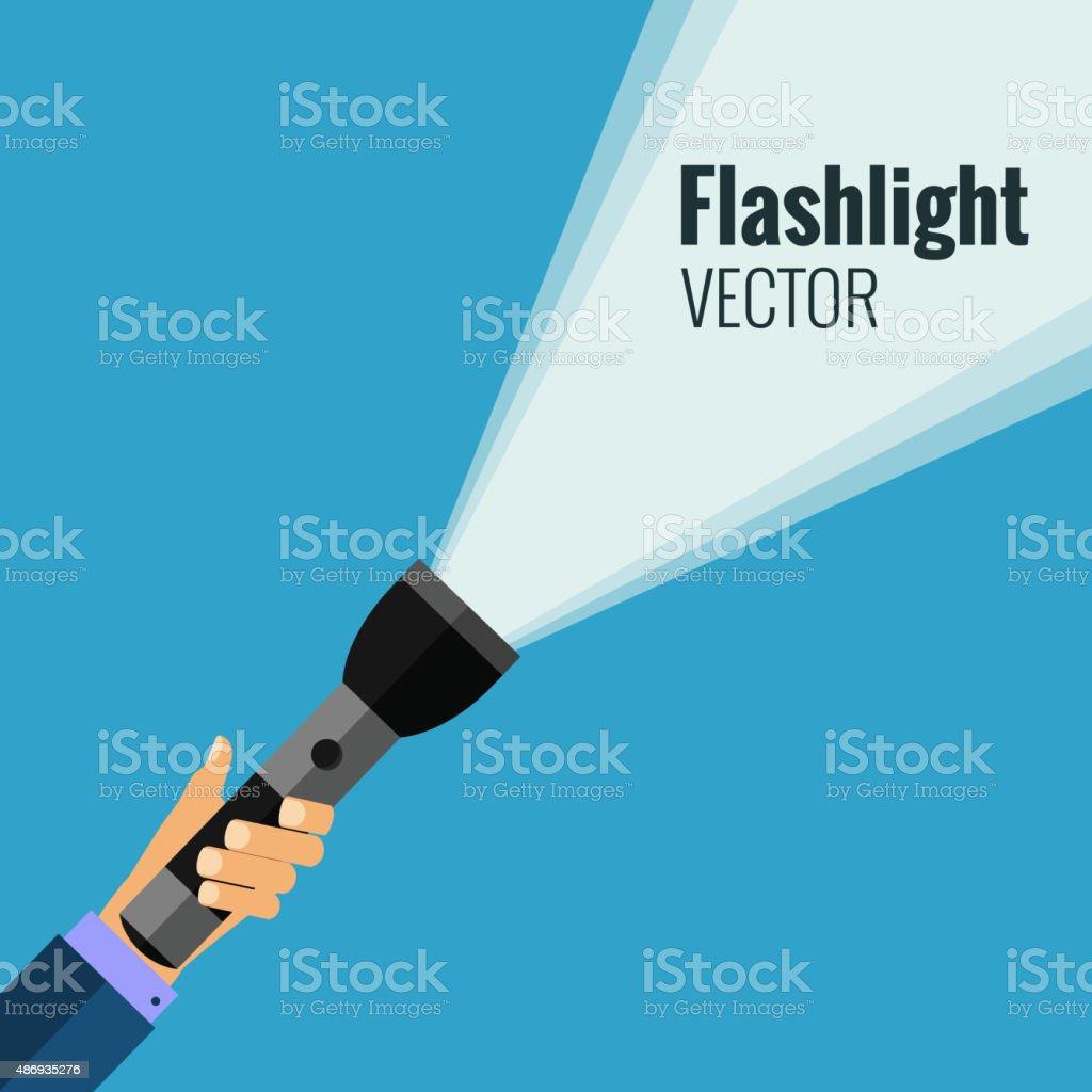 Flat flashlight vector art illustration