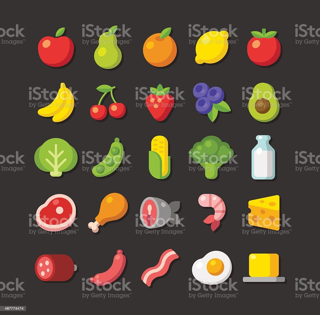Flat food icon set vector art illustration