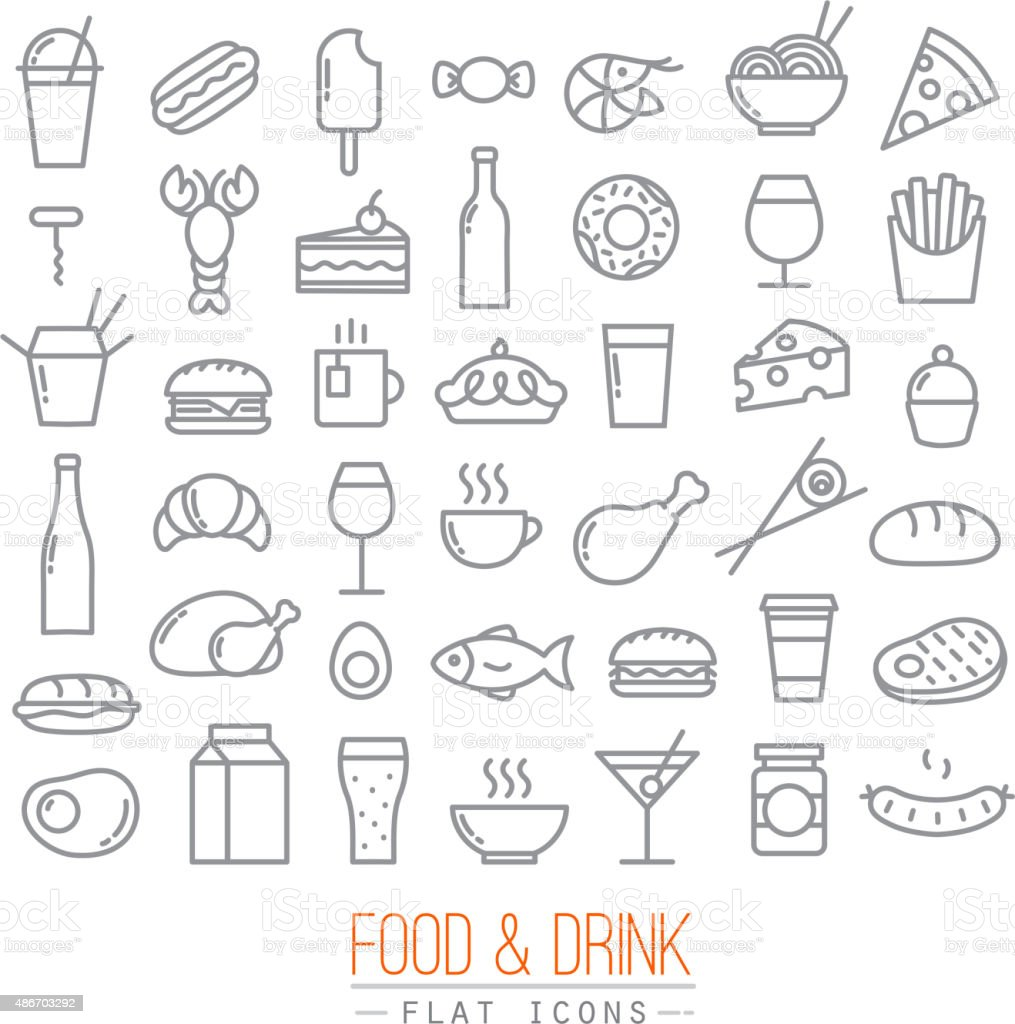 Flat food icons vector art illustration