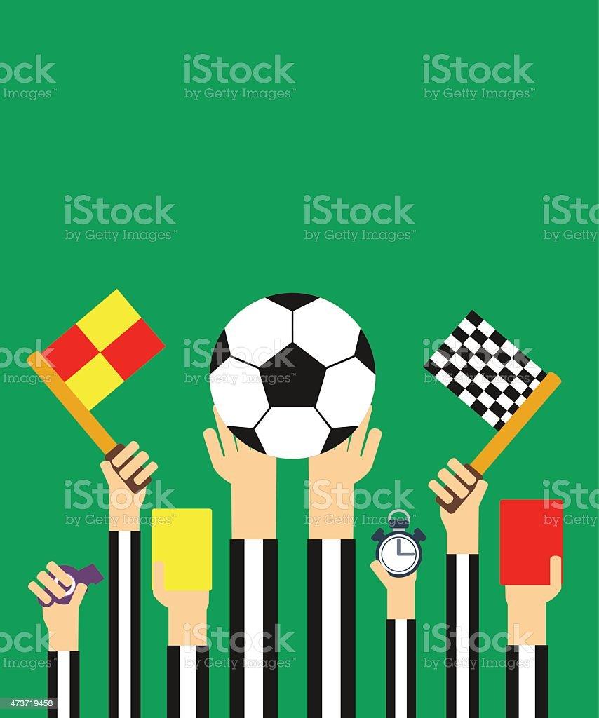 Flat Football referees card vector art illustration