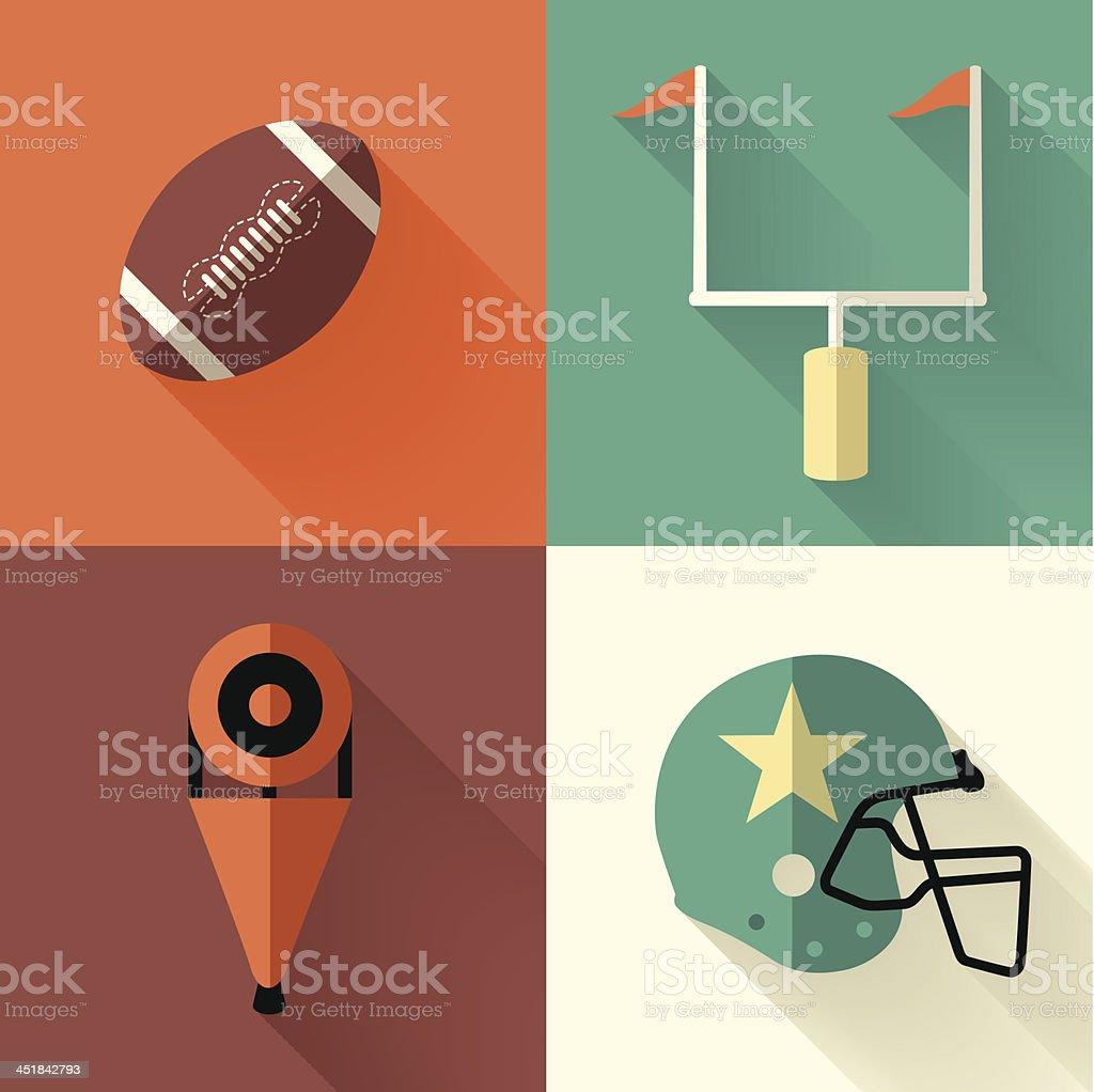 Flat Football Symbols vector art illustration