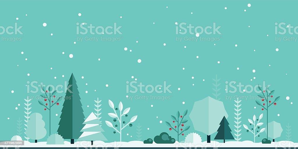 flat forest background vector art illustration