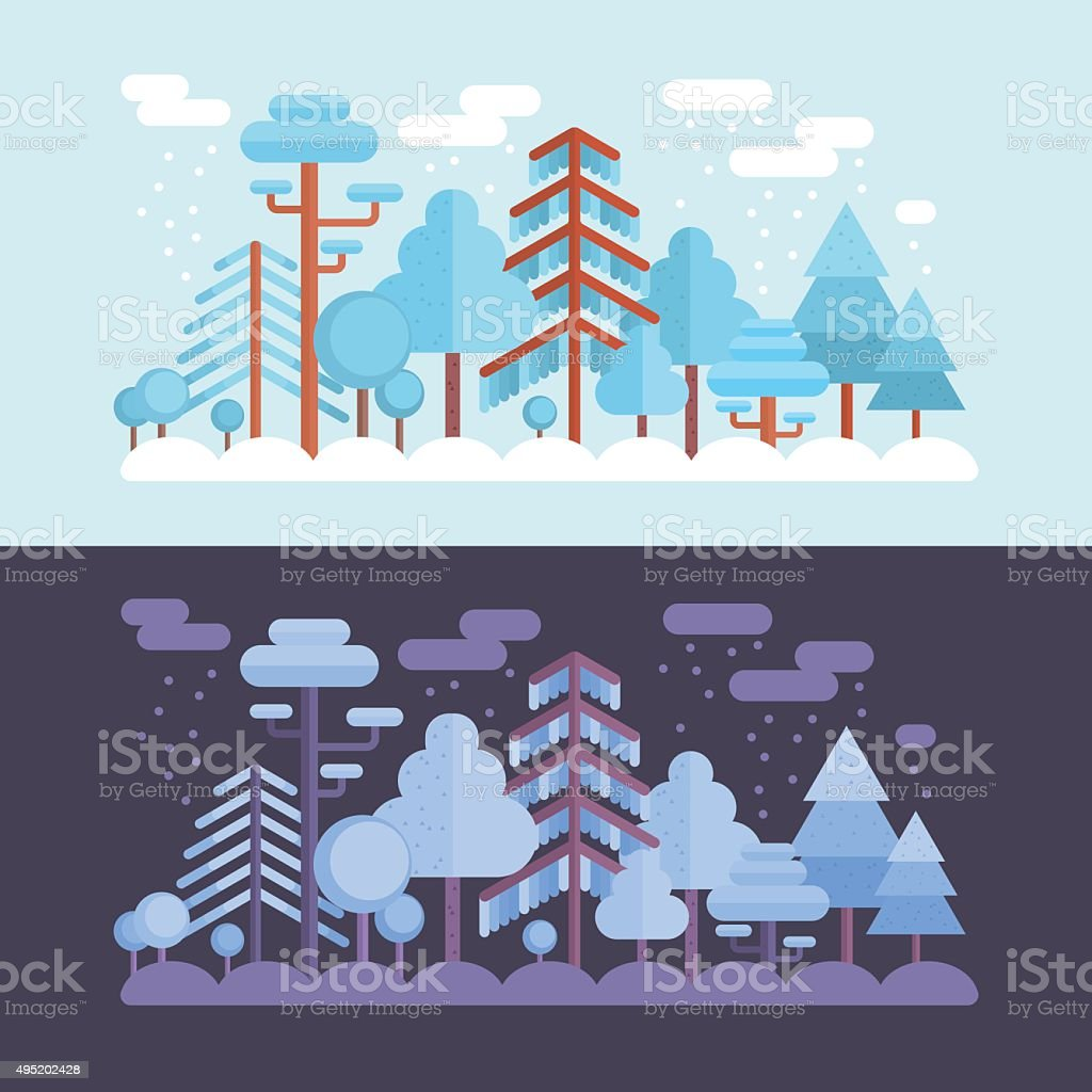 Flat forest scene with day and night vector art illustration