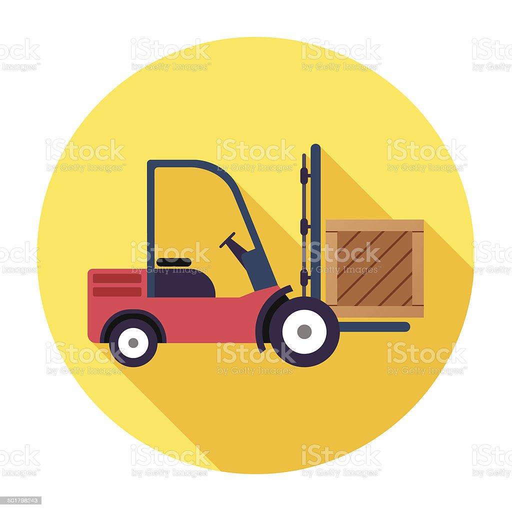 Flat Forklift Icon vector art illustration