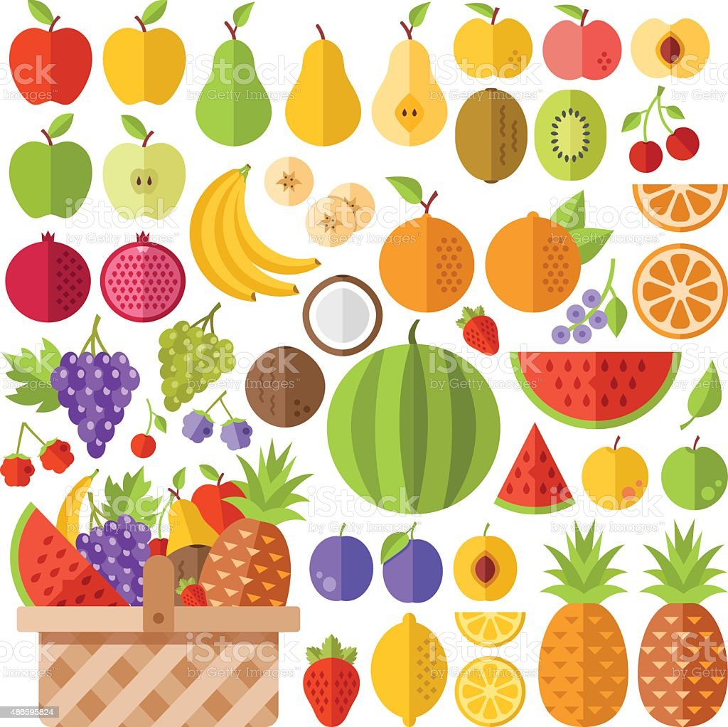 Flat fruits icons set. Creative vector flat icons vector art illustration
