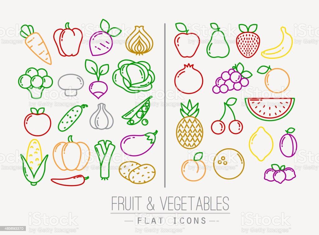Flat Fruits Vegetables Icons Color vector art illustration