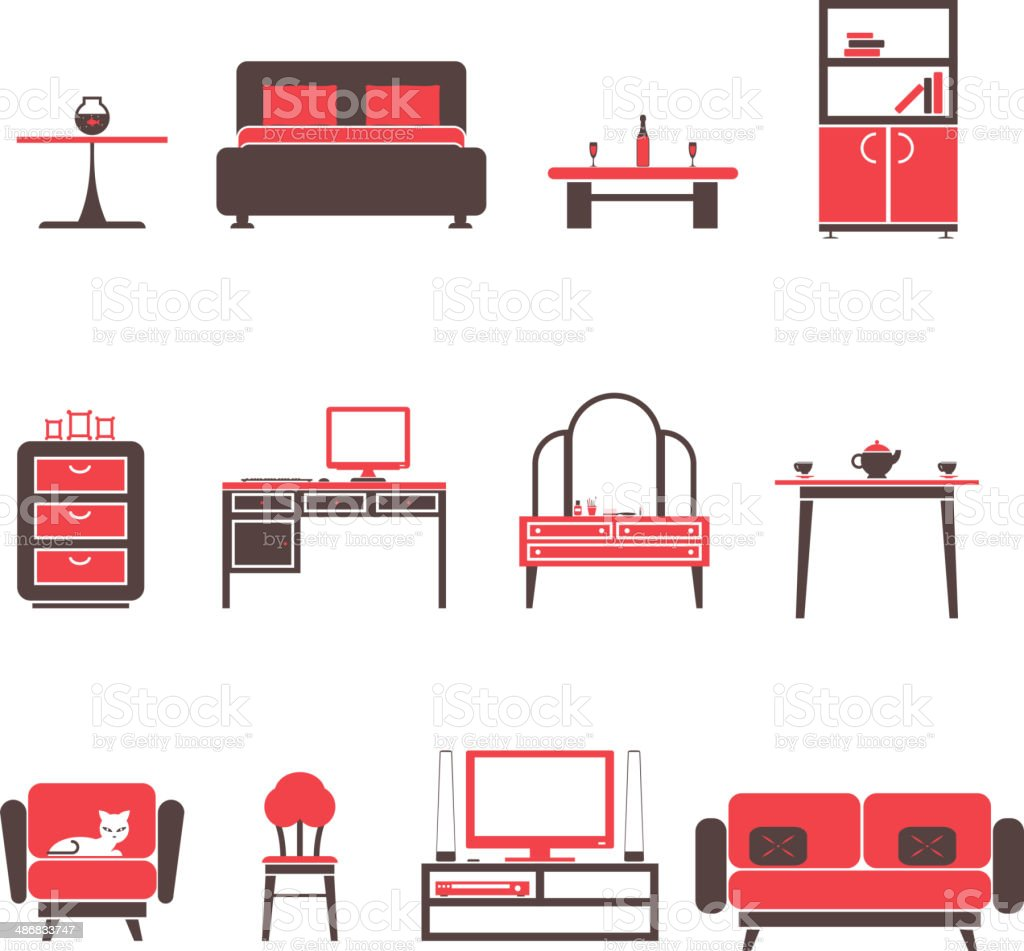 Flat Furniture Icons and Symbols Set for Living Room Isolated vector art illustration