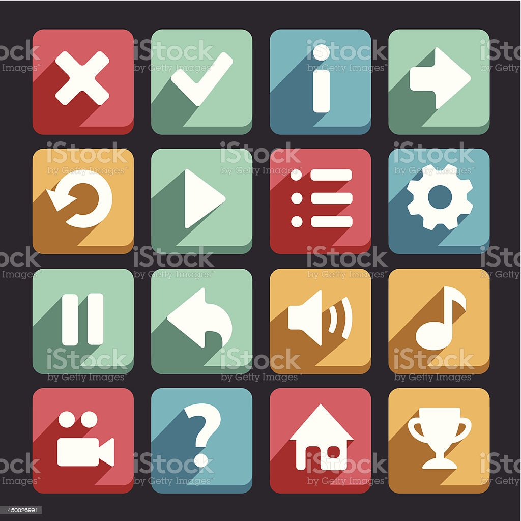 Flat game icons royalty-free stock vector art