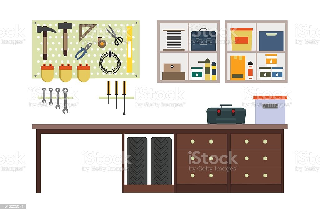 Flat garage inside. vector art illustration