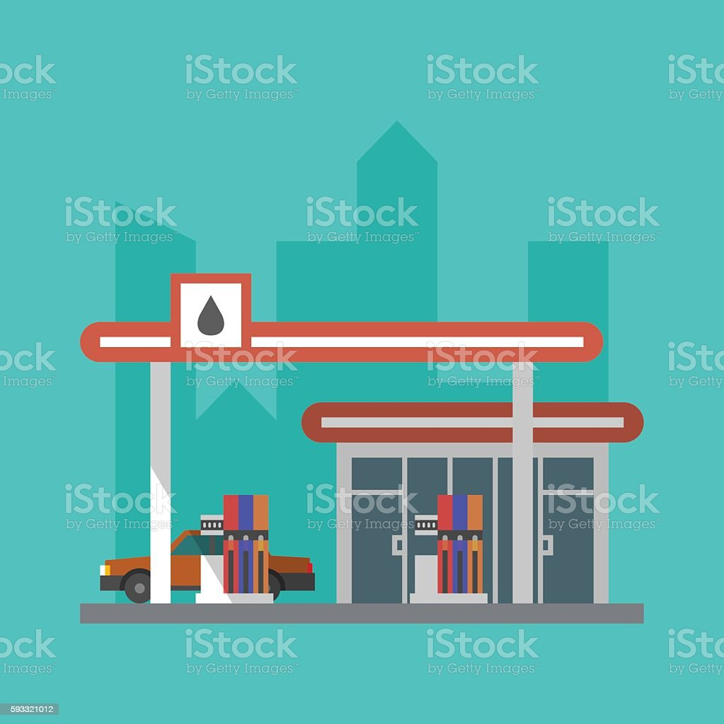 Flat gas station vector art illustration