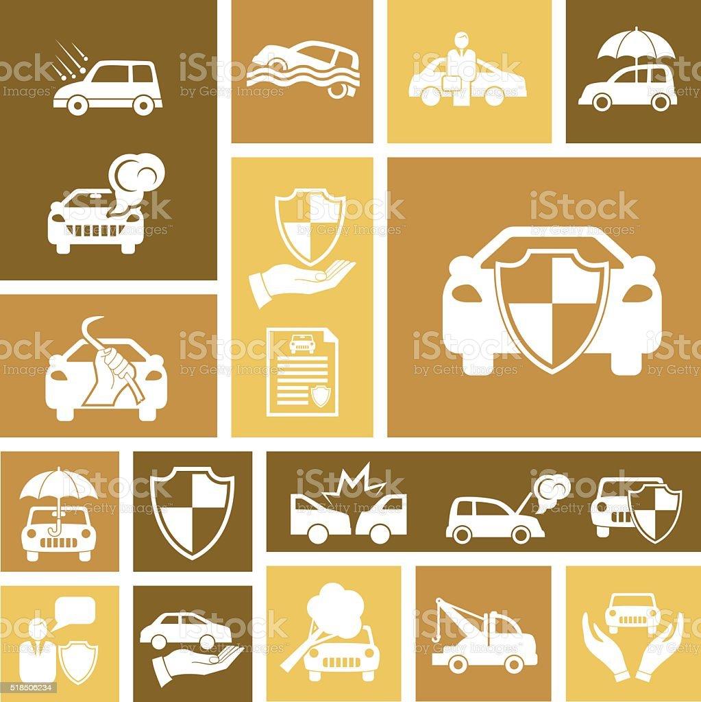 Flat Geometric Automotive Insurance Icon Set vector art illustration
