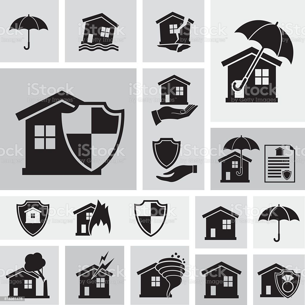 Flat Geometric Homeowners Insurance Icon Set vector art illustration