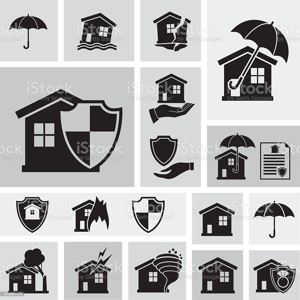 Flat Geometric Homeowners Insurance Icon Set vector art illustration
