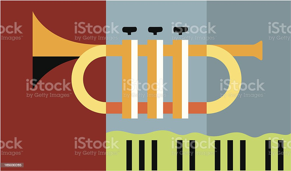 Flat graphic image of a trumpet royalty-free stock vector art