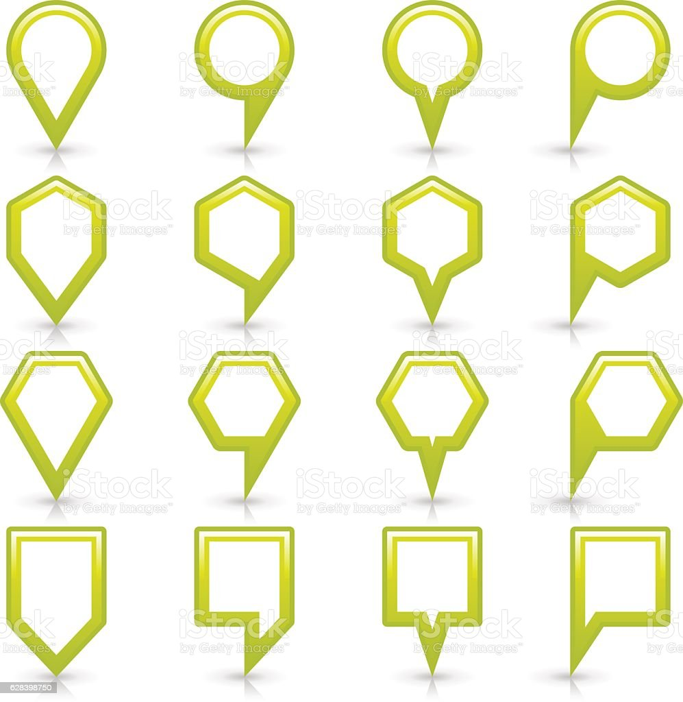 Flat green color map pin sign location icon vector art illustration