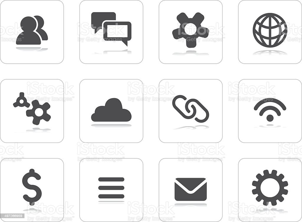 Flat grey icons vector art illustration
