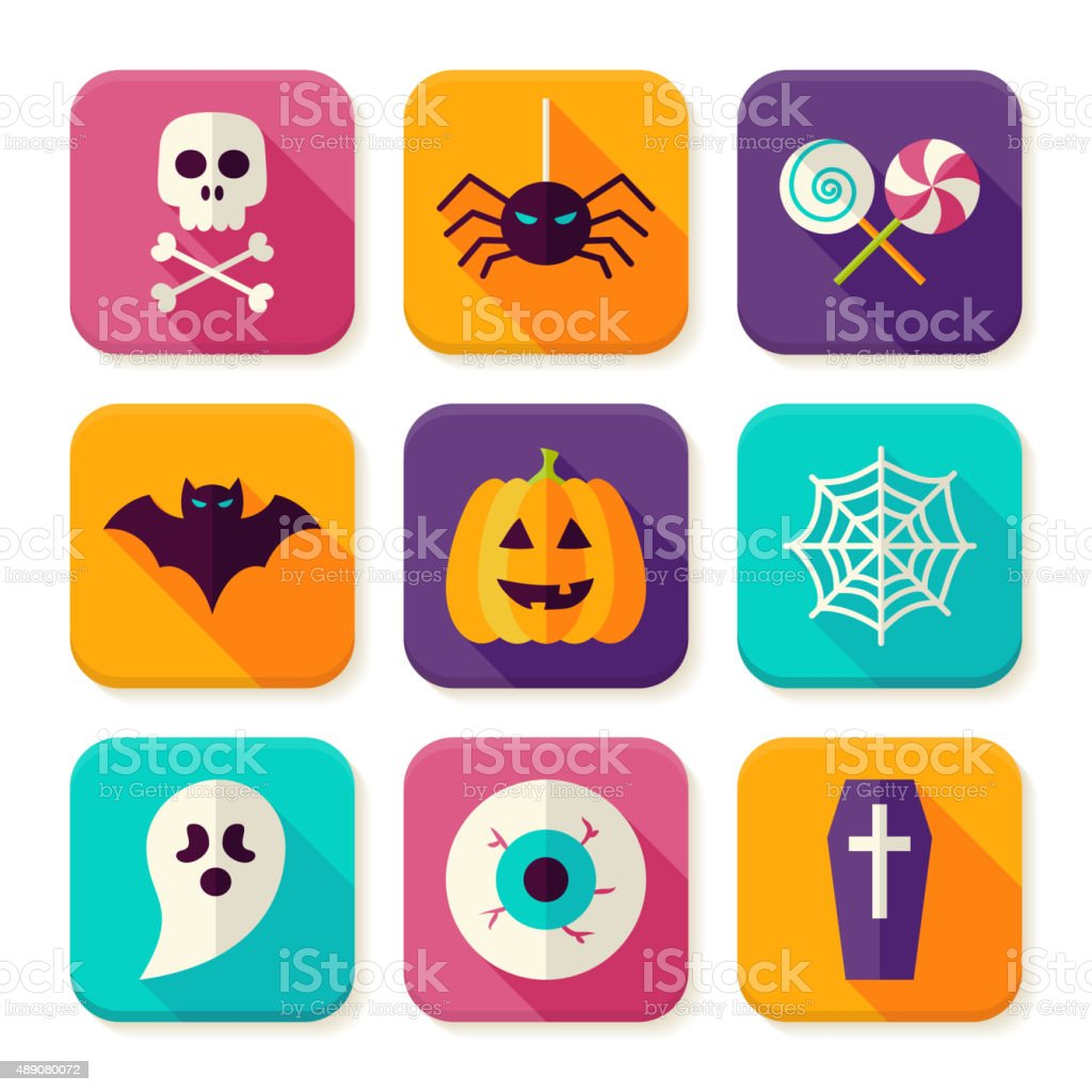 Flat Halloween Trick or Treat Square App Icons Set vector art illustration