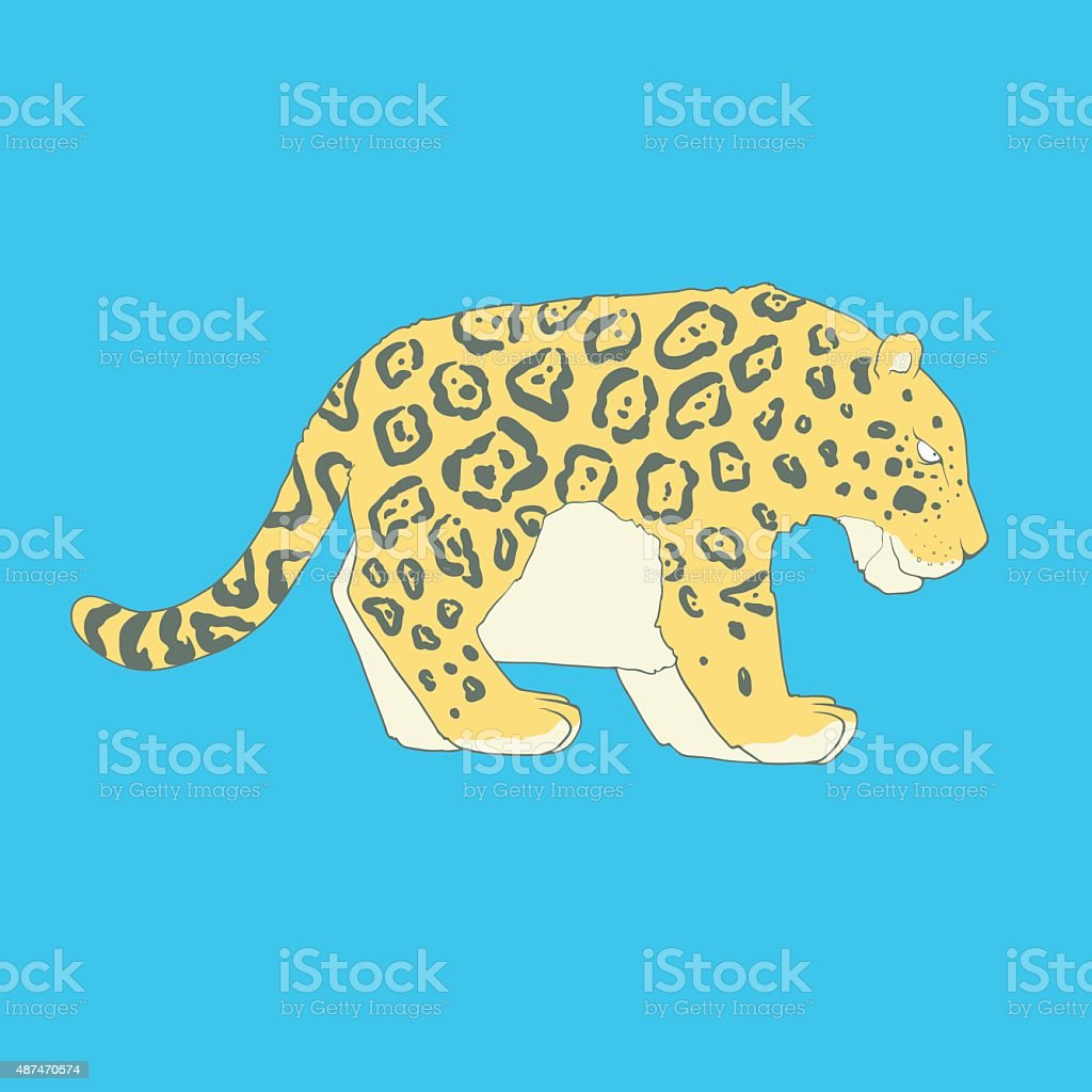 Flat hand drawn icon of a cute jaguar vector art illustration