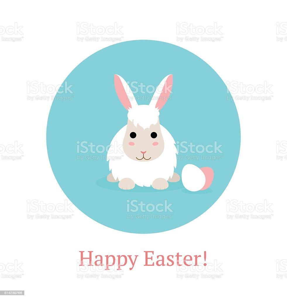 Flat Happy Easter Banner with white rabbit vector art illustration