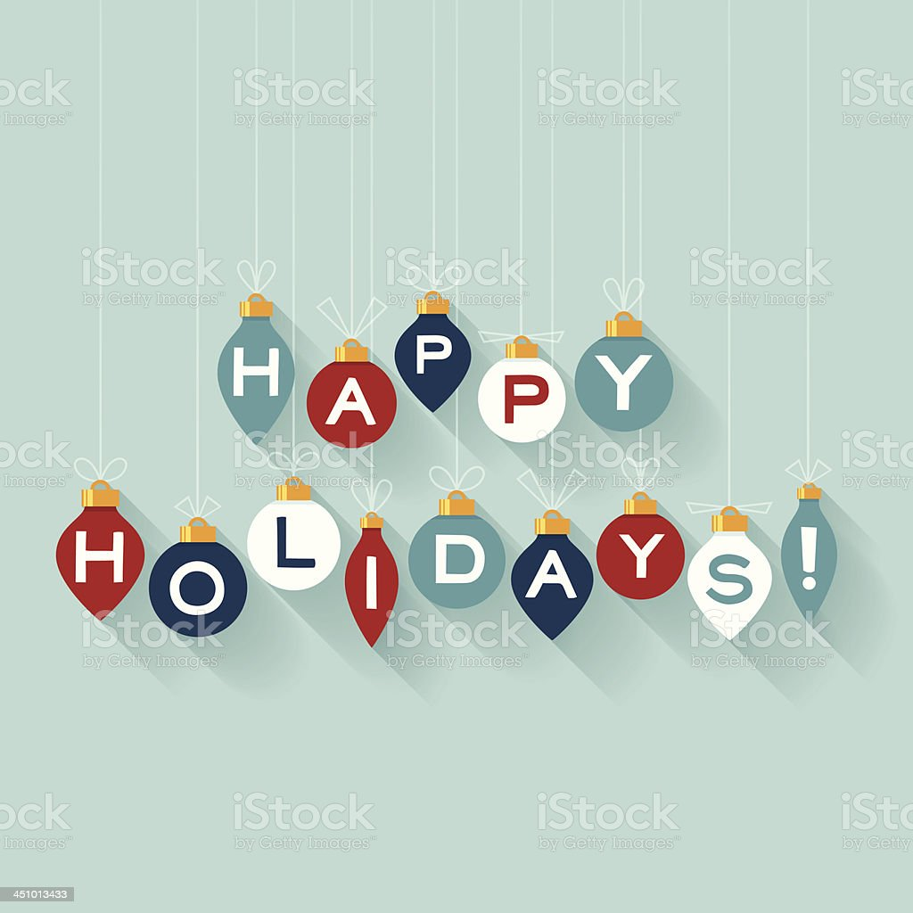 Flat Happy Holidays vector art illustration