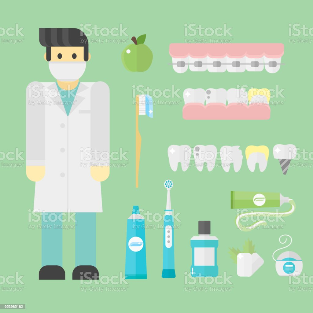 Flat health care dentist symbols research medical tools healthcare system concept and medicine instrument hygiene stomatology engineering vector illustration vector art illustration