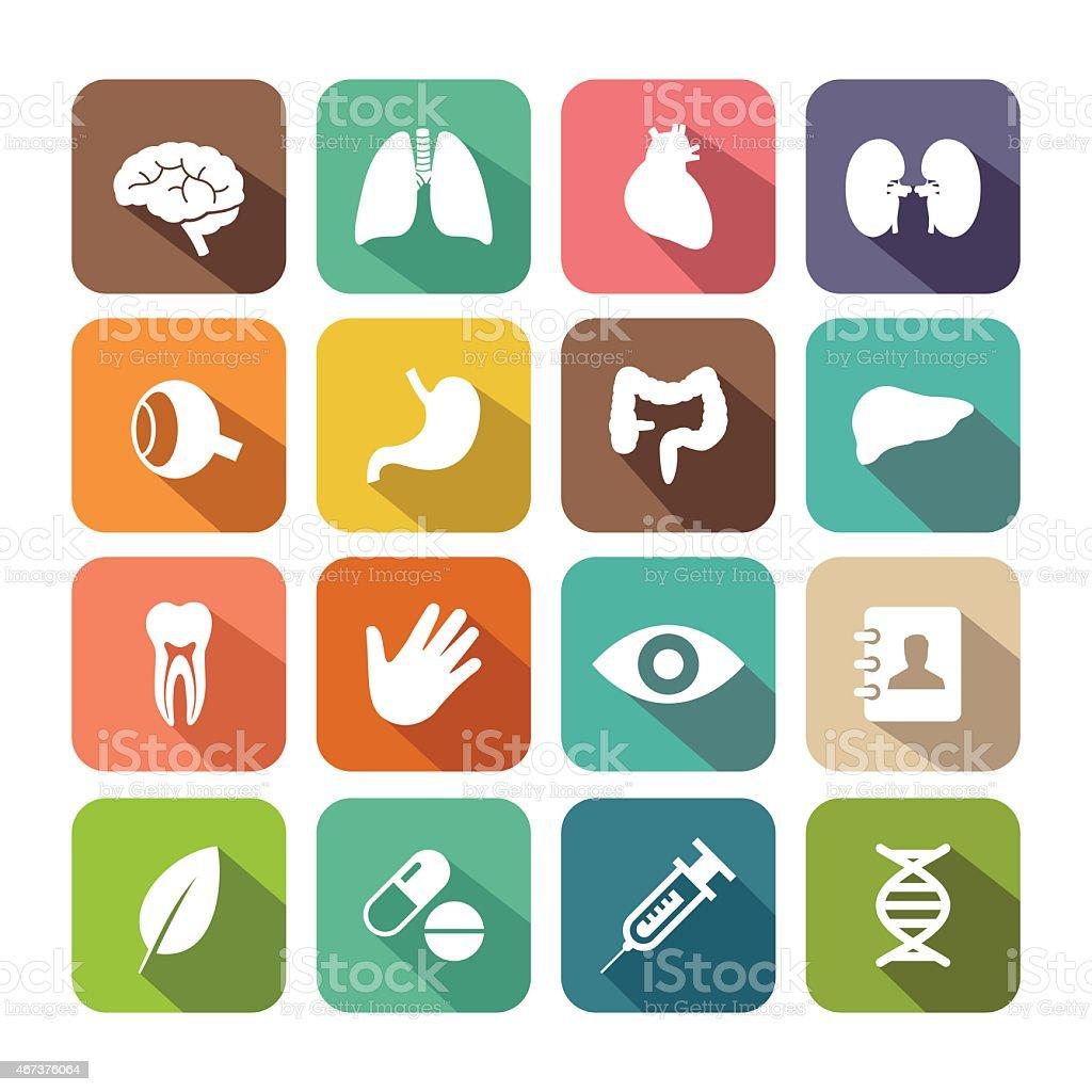 Flat Healthcare and Organ Icon Set vector art illustration