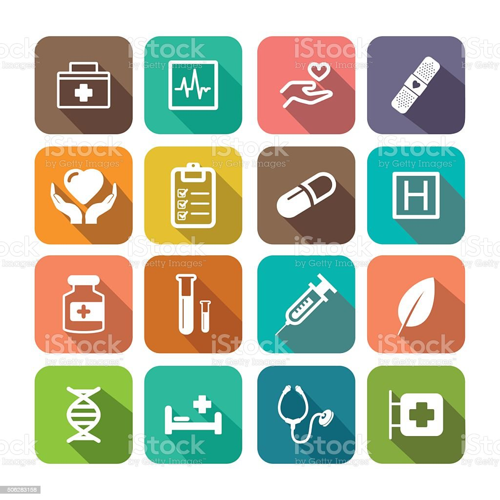 Flat HEALTHCARE Icon Set vector art illustration
