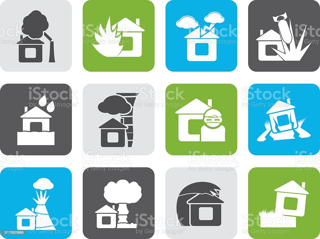 Flat home and house insurance and risk icons vector art illustration