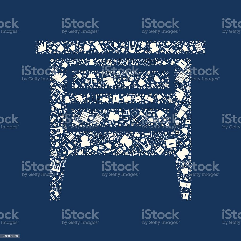 Flat home appliance furniture vector art illustration