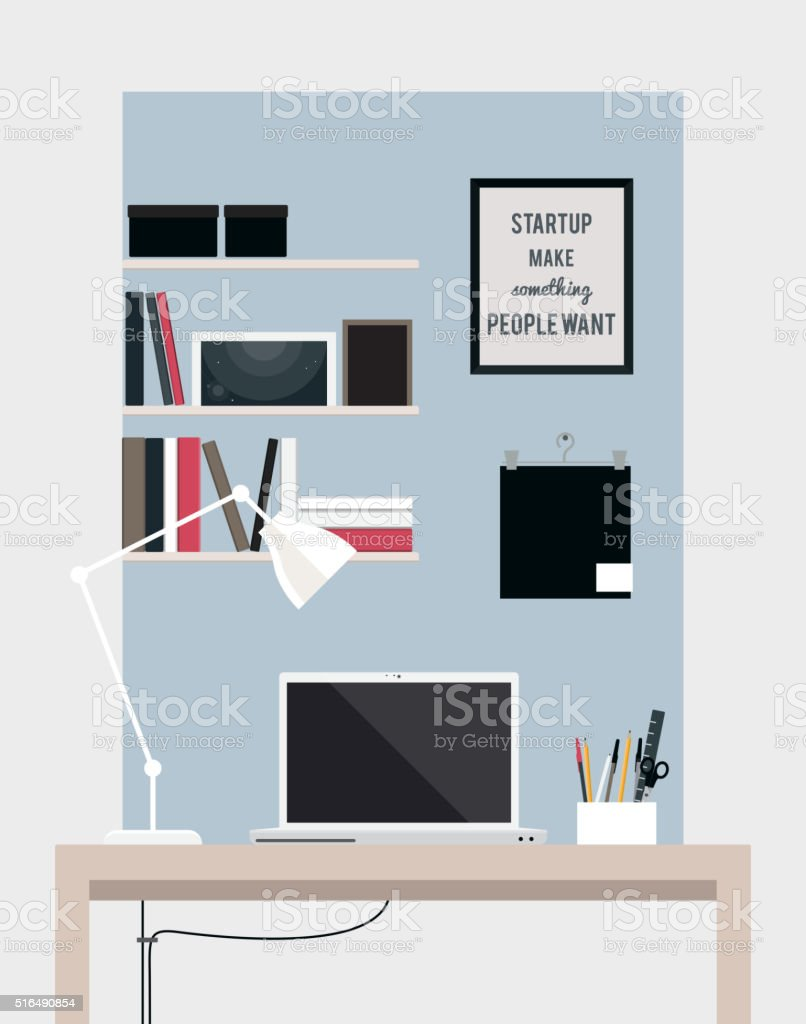 flat home office interior illustration with desktop stock vector