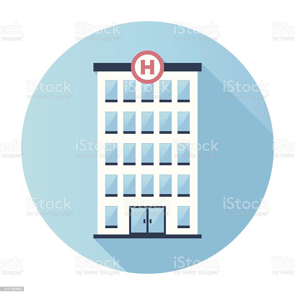 Flat Hospital Building Icon vector art illustration