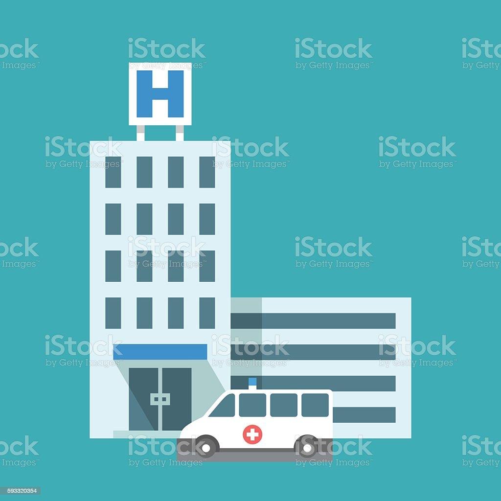 Flat hospital building vector art illustration