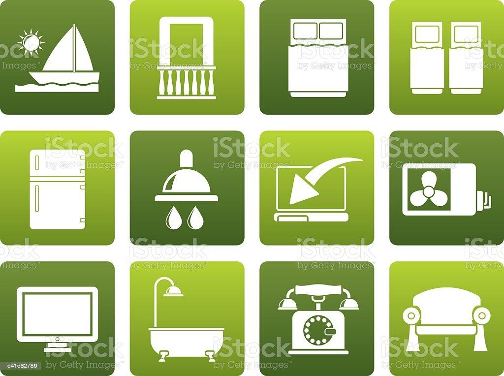 Flat Hotel and motel room facilities icons vector art illustration