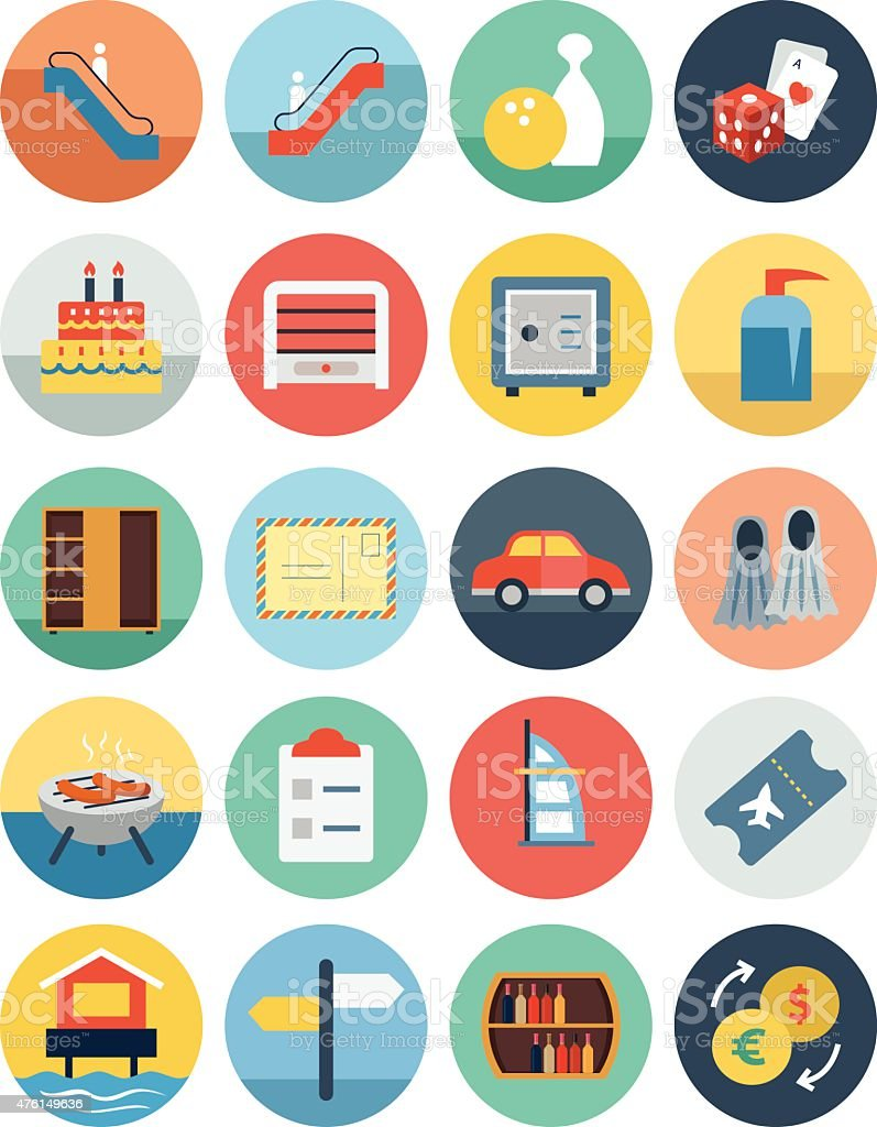 Flat Hotel and Restaurant Vector Icons 7 vector art illustration