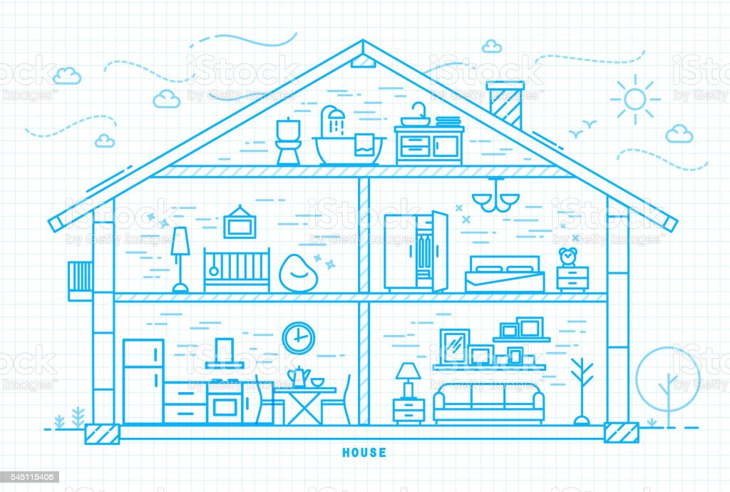 Flat house silhouette blue vector art illustration