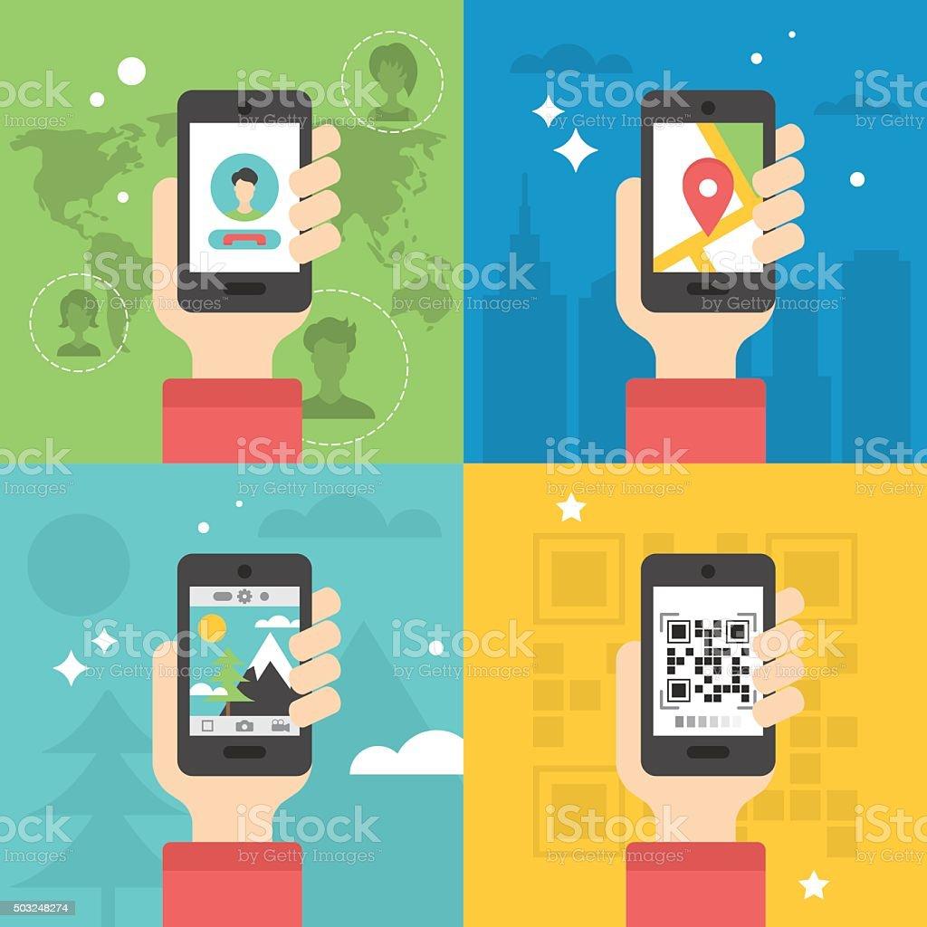 Flat icon design for various mobile phone applications: global communication vector art illustration