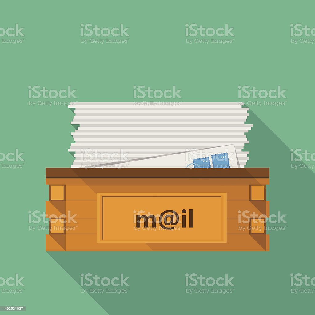 Flat icon for a mailbox for site and business vector art illustration