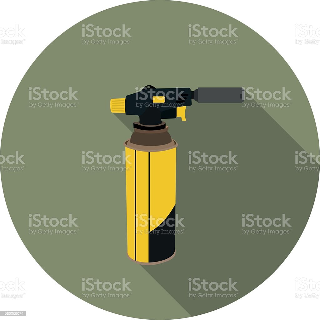 flat icon gas torch for soldering vector art illustration
