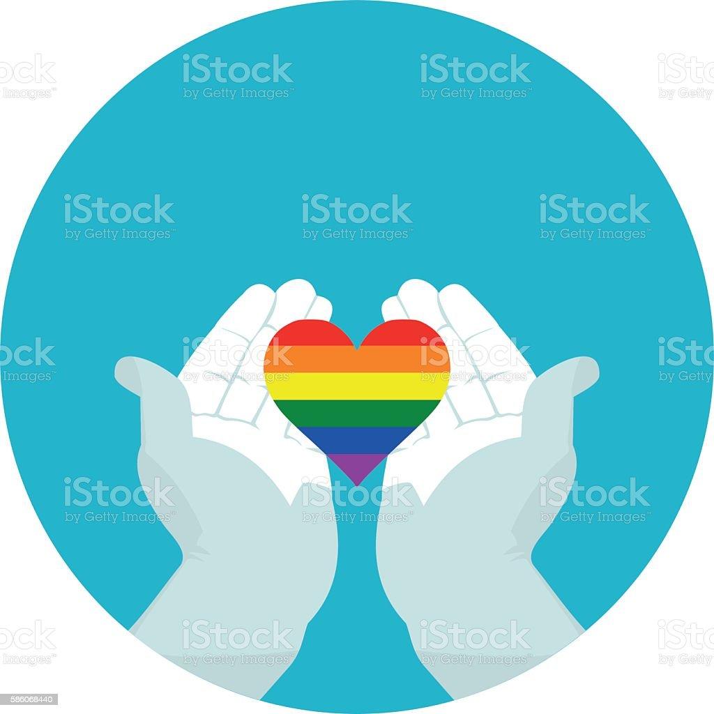 flat icon heart of LGBT vector art illustration