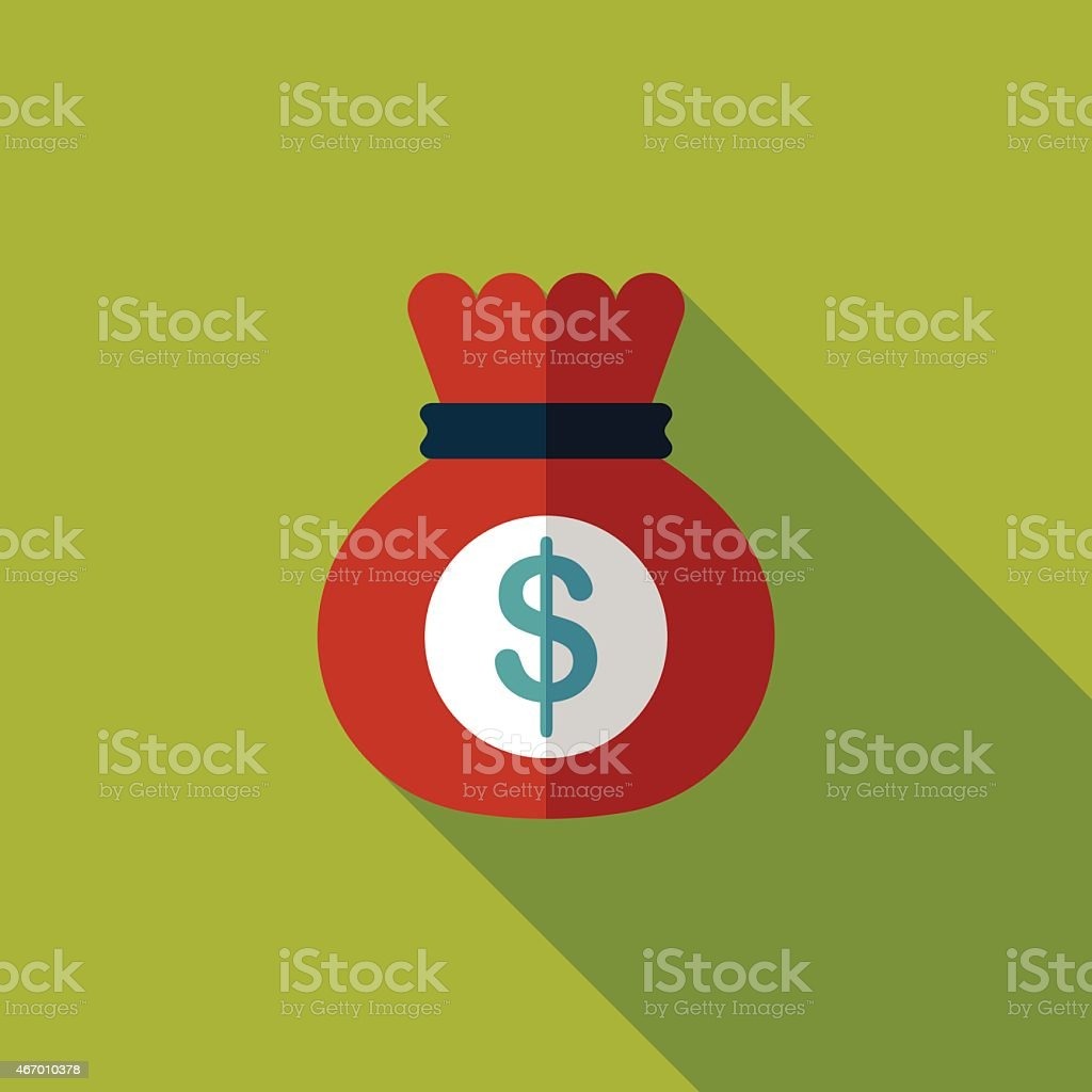 Flat icon illustration of red money bag with long shadow vector art illustration