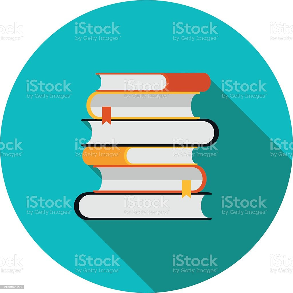 flat icon is a stack of books vector art illustration