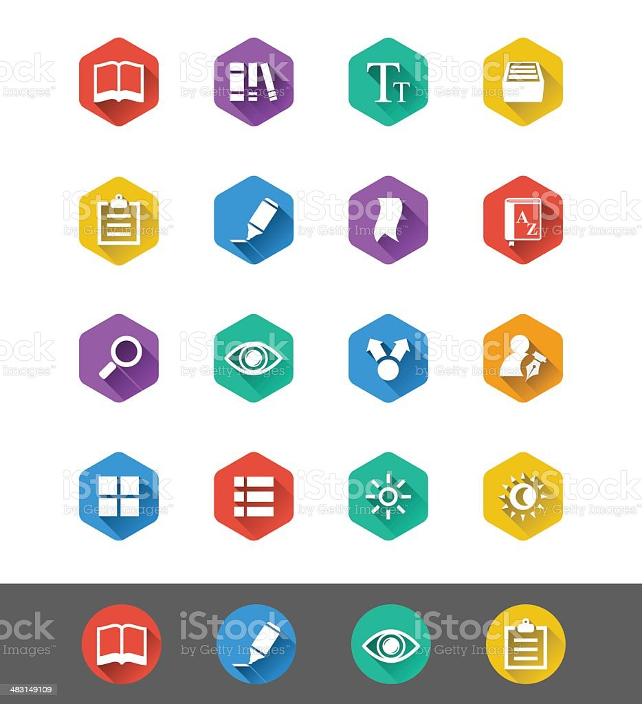 Flat Icon Series: E-book Reading Icons vector art illustration