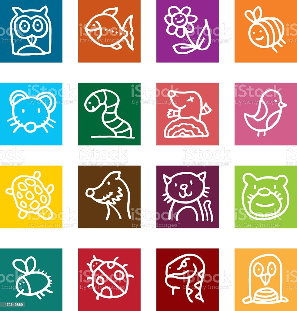 Flat icon set - animals and insects royalty-free stock vector art