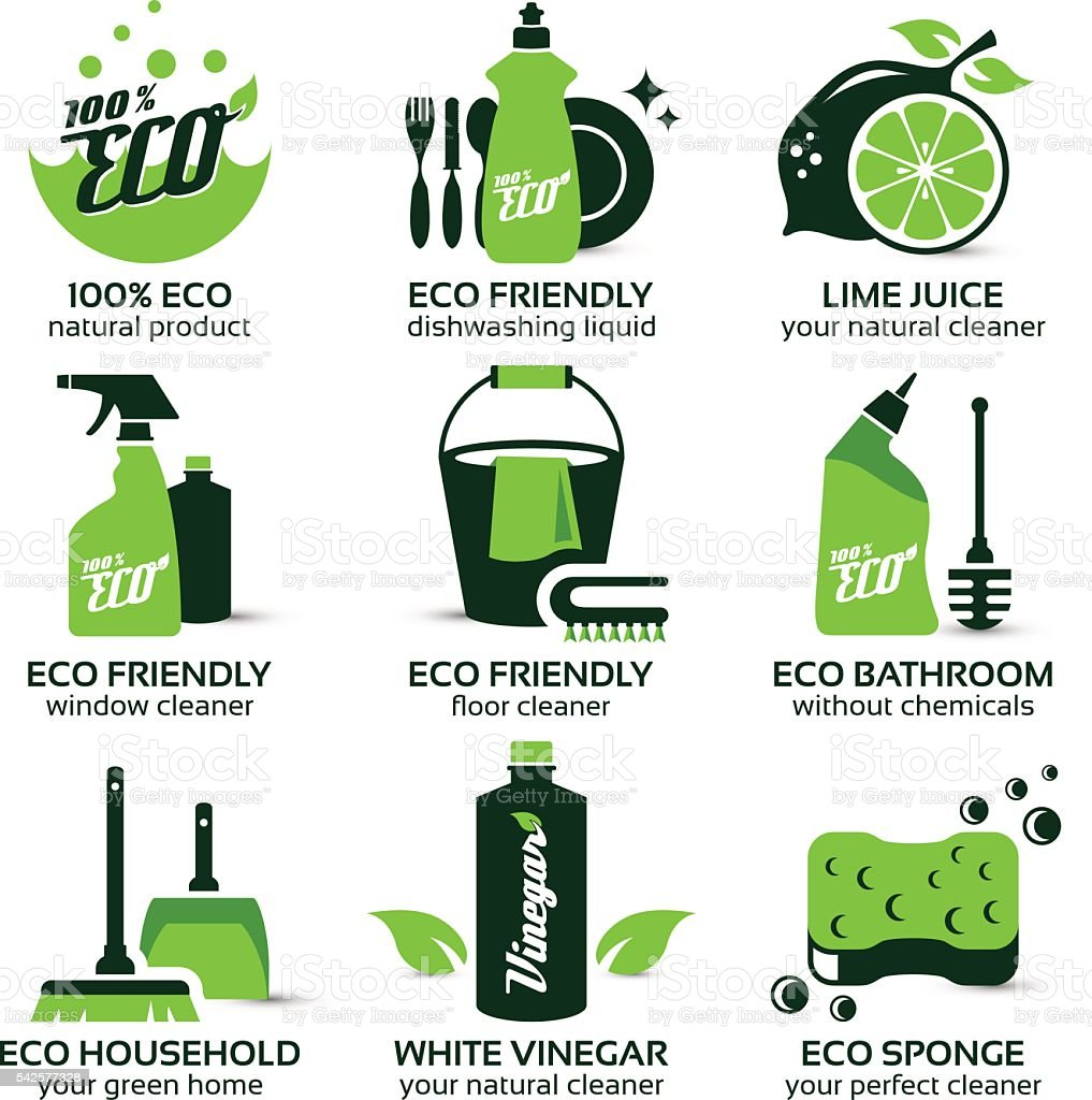 flat icon set for green eco cleaning vector art illustration