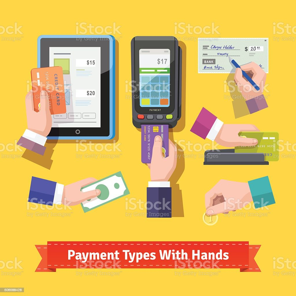 Flat icon set of payment types vector art illustration